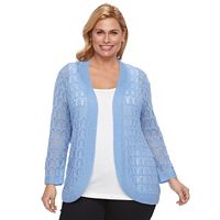 Plus Size Napa Valley Crochet Open-Front Cardigan