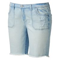 Juniors' Plus Size Mudd® FLX Stretch Frayed Jean Shorts