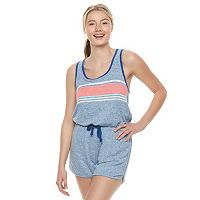 Juniors' SO® Racerback Striped Romper