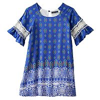 Girls 7-16 My Michelle Crochet Bell Sleeve Cold Shoulder Sheath Dress