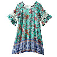 Girls 7-16 My Michelle Crochet Bell Sleeve Cold Shoulder Sheath Dress