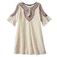 Girls 7-16 My Michelle Crochet Bell Sleeve Cold Shoulder Tie Sheath Dress