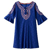Girls 7-16 My Michelle Crochet Bell Sleeve Cold Shoulder Tie Sheath Dress
