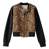 Girls 7-16 Side of Fries Quilted Leopard Print Bomber Jacket