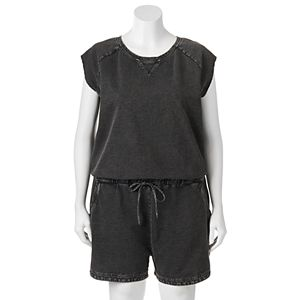 madden NYC Juniors' Plus Size French Terry Romper