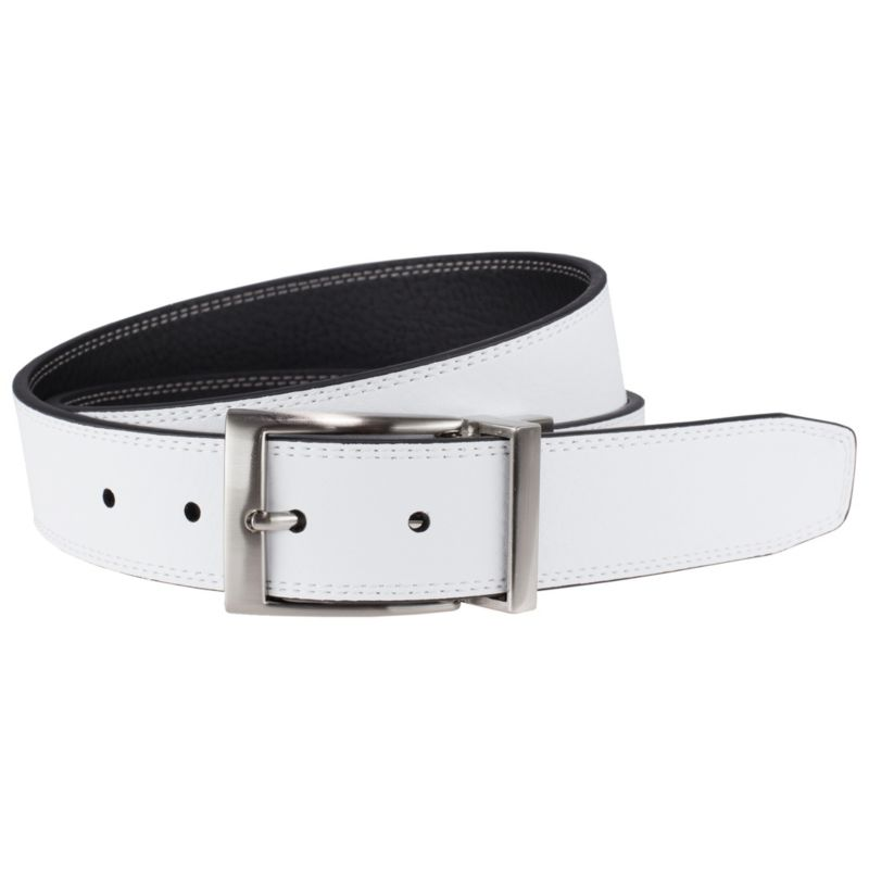 Men's Nike Black & White Stitched Reversible Leather Belt, Size: 40, Oxford thumbnail