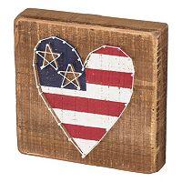 American Flag Heart String Box Wall Art