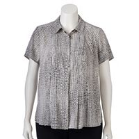 Plus Size Dana Buchman Pleated Blouse