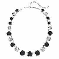 Napier Graduated Black Stone & Etched Medallion Necklace