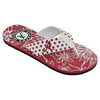 Women's College Edition Alabama Crimson Tide Floral Polka-Dot Flip-Flops