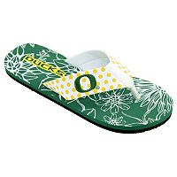Women's College Edition Oregon Ducks Floral Polka-Dot Flip-Flops