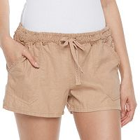 Juniors' Rewind Crochet Linen-Blend Shorts