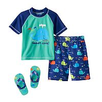 Toddler Boy Wippette Rashguard, Swim Trunks & Flip Flop Sandals Set