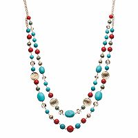 Beaded & Hammered Disc Long Swag Necklace