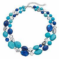 Blue & Simulated Turquoise Bead Double Strand Necklace