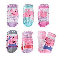 Girls 4-6x Peppa Pig & George Pig 6-pk. No-Show Socks