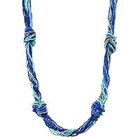 Blue Seed Bead Long Knotted Torsade Necklace