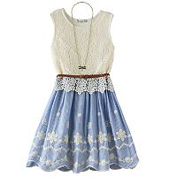 Girls 7-16 Knitworks Crochet Overlay Belted Dress with Necklace