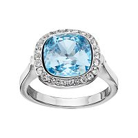 Brilliance Blue Crystal Halo Ring with Swarovski Crystals