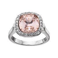 Brilliance Pink Crystal Halo Ring with Swarovski Crystals