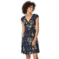 Women's Chaps Floral Surplice Empire Dress
