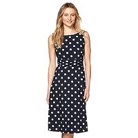 Women's Chaps Polka-Dot Ruched Dress
