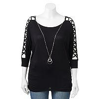 Juniors' Plus Size HeartSoul Ruched Crisscross Sleeve Top