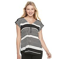 Juniors' My Michelle Woven Zipper V-Neck Tee