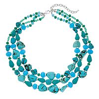 Napier Simulated Turquoise Beaded Multi Strand Necklace