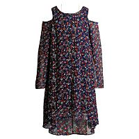 Girls 7-16 Mackenzie X Emily West Floral Printed Chiffon Cold Shoulder Dress with Necklace
