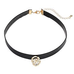 Caged Stone Faux Leather Choker Necklace