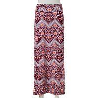 Juniors' Joe B Print Fold-Over Maxi Skirt