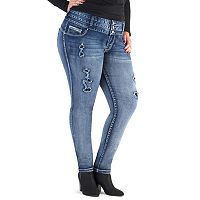 Juniors' Plus Size Amethyst Triple Stack High-Waist Jeggings