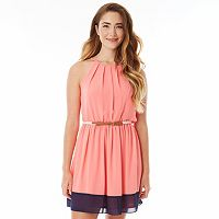 Juniors' IZ Byer California Pintuck Halter Dress