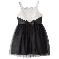 Girls 7-16 Lilt Black & White Scalloped Neck Dress