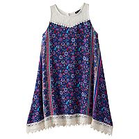 Girls 7-16 Lilt Flower Print Lace Trim Handkerchief Hem Dress