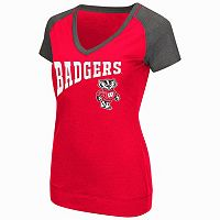 Women's Campus Heritage Wisconsin Badgers First Base V-Neck Tee