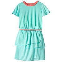 Girls 7-16 Three Pink Hearts Solid Tiered Ringer Dress with Belt