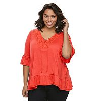 Plus Size French Laundry Lace-Up Cold Shoulder Top