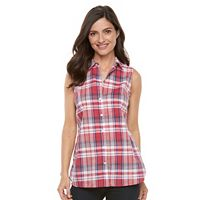 Women's Croft & Barrow® Plaid Sleeveless Shirt