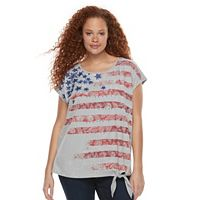Plus Size Rock & Republic® Paisley Flag Front-Tie Tee