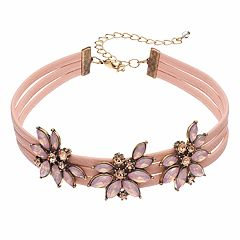 Pink Flower Faux Leather Choker Necklace