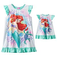 Disney's The Little Mermaid Ariel Toddler Girl Dorm Nightgown & Doll Gown Set