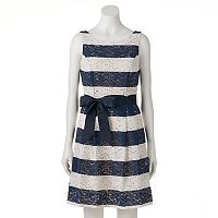 Women's Bethany Striped Lace Fit & Flare Dress