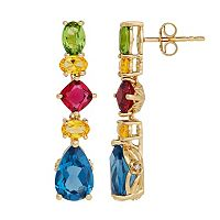 David Tutera 14k Gold Over Silver Simulated Gemstone Linear Drop Earrings