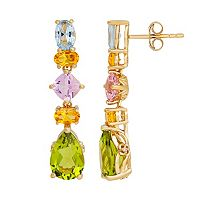 David Tutera 14k Gold Over Silver Simulated Gemstone Linear Teardrop Earrings