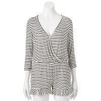 Juniors' About A Girl Striped Surplice Romper