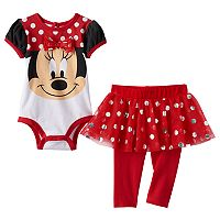 Disney's Minnie Mouse Baby Girl Bodysuit, Polka-Dot Tulle Skirt & Leggings Set