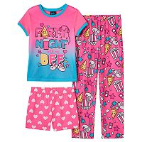 Girls 4-16 Jelli Fish Graphic Tee, Pants & Shorts Pajama Set