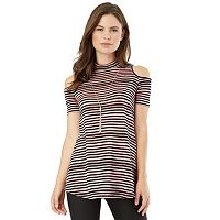 Juniors' IZ Byer California Mockneck Cold-Shoulder Top